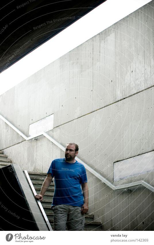 bonjour tristesse Man Underpass Bridge Concrete Cool (slang) Blue Shirt T-shirt Banister Eyeglasses Facial hair Line Beautiful Stairs Tunnel Town Motionless