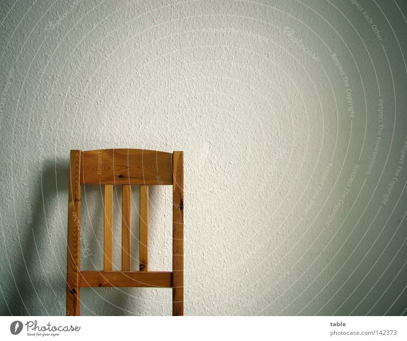 void Chair Wall (building) Wood Pine Wood flour Seating Authentic Backrest Stand Lean Break Wallpaper Ingrain wallpaper Shadow White Emotions Furniture