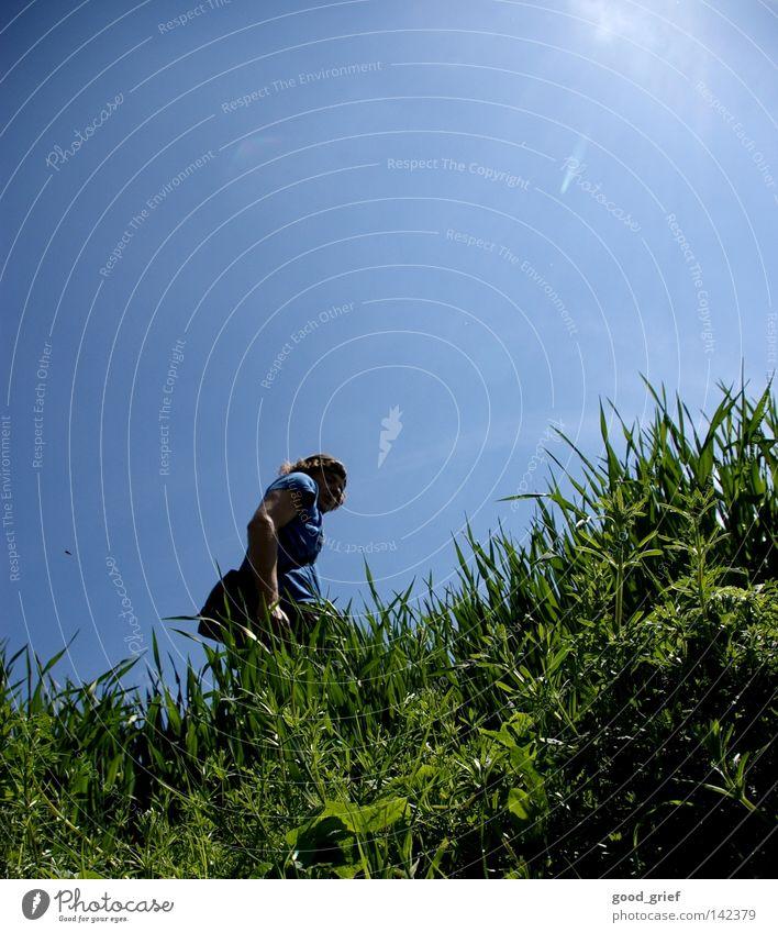 Human being Man Sky Sun Green Blue Summer Meadow Grass Spring Field Hill Blade of grass