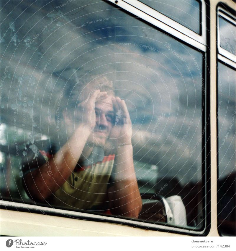 Man Clouds Window Public transit Dirty Adults Glass Search Analog Derelict Bus Storm Window pane Concern Slice Passenger traffic