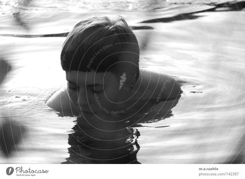 Woman Beautiful Summer Face Feminine Lake Swimming & Bathing Esthetic Bathroom Mysterious Delicate Longing Mirror Surface of water Motionless Hardcore