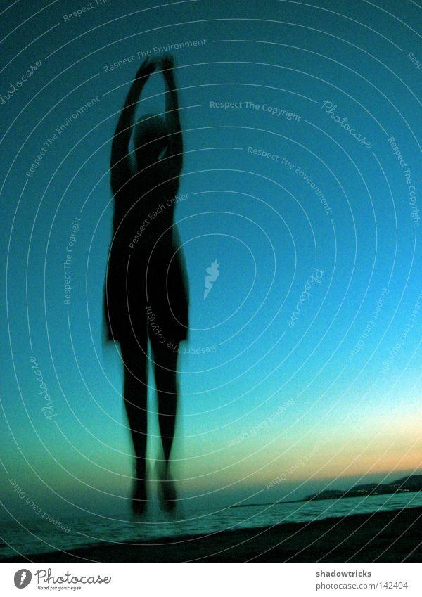 Woman Human being Sky Nature Blue Green Sun Ocean Joy Beach Black Landscape Jump Laughter Legs Turquoise