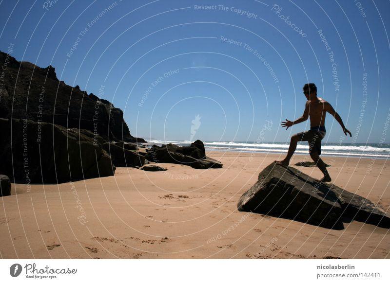 Man Sky Ocean Blue Summer Beach Black Relaxation Stone Sand Rock Action Posture Statue Portugal Alentejo