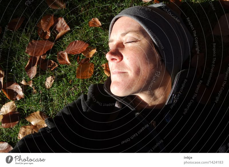 no time to be stressed 4 Woman Adults Life Face 1 Human being 30 - 45 years Nature Autumn Beautiful weather Autumn leaves Garden Park Meadow Lie Relaxation