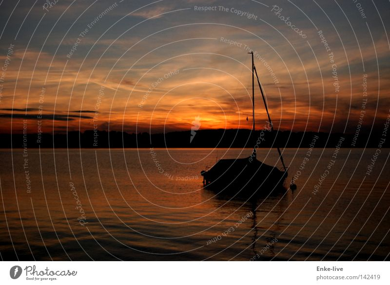 Sunset Lake Watercraft Sailboat Lake Starnberg Sky Dusk Red Calm Peace Serene Relaxation To enjoy Beautiful Horizon Reflection Evening Colouring Mast Dream