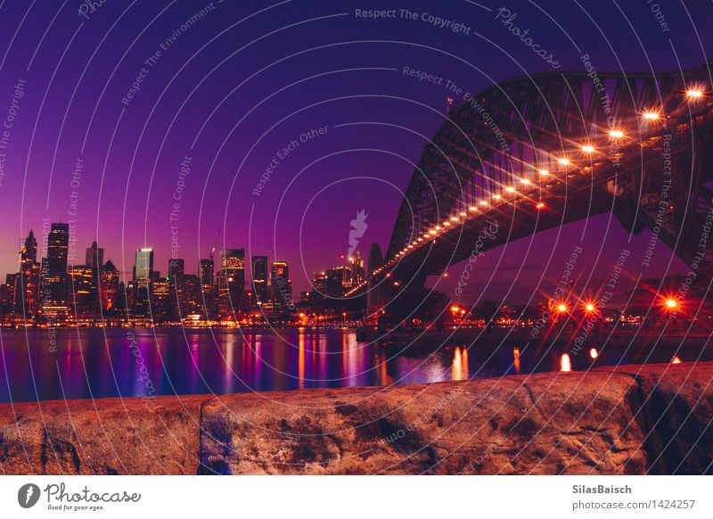 Sydney Skyline Cloudless sky Sunrise Sunset Sunlight Town Port City Downtown Populated Overpopulated Bridge Building Architecture Tourist Attraction Esthetic