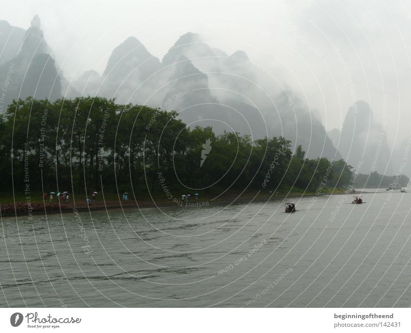 Nature Water Mountain Landscape Fog River Asia China Brook Land Feature Li river Guilin