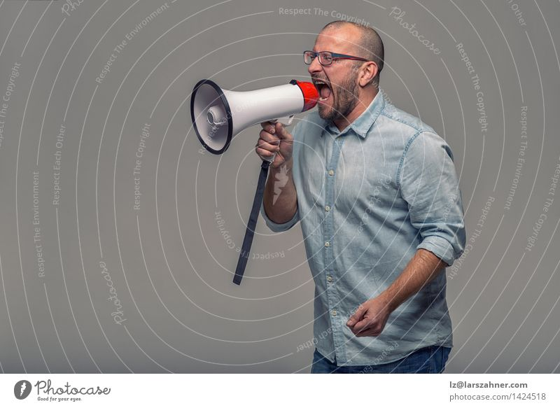 Man speaking over a megaphone Loudspeaker 1 Human being 30 - 45 years Adults Shirt Beard Tube Modern Advertising aggressive announcement communication