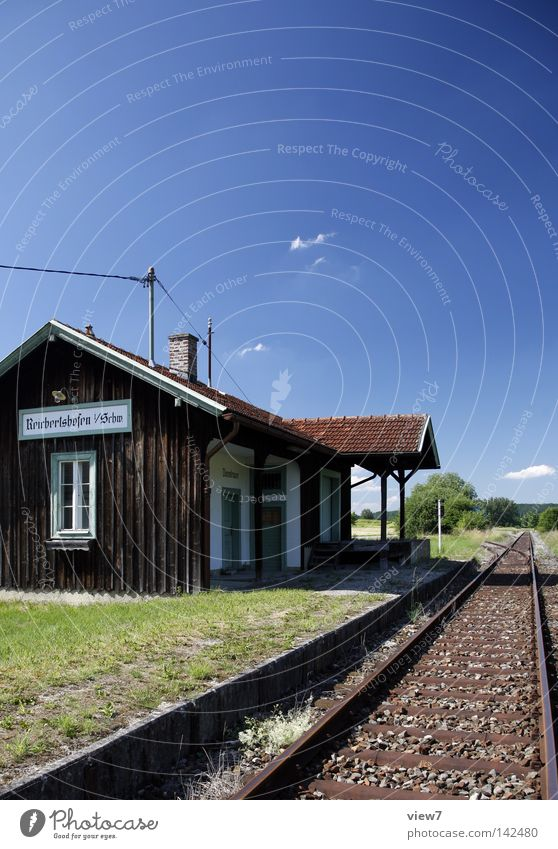 Vacation & Travel Summer House (Residential Structure) Time Wait Trip Transport Railroad Travel photography To hold on Stop Idyll Village Railroad tracks Steel