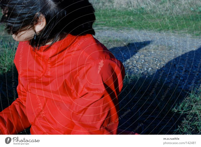 Woman Girl Red Summer Black Colour Hair and hairstyles Weather Wind Wrinkles Jacket Gale Concealed Gust of wind All-weather