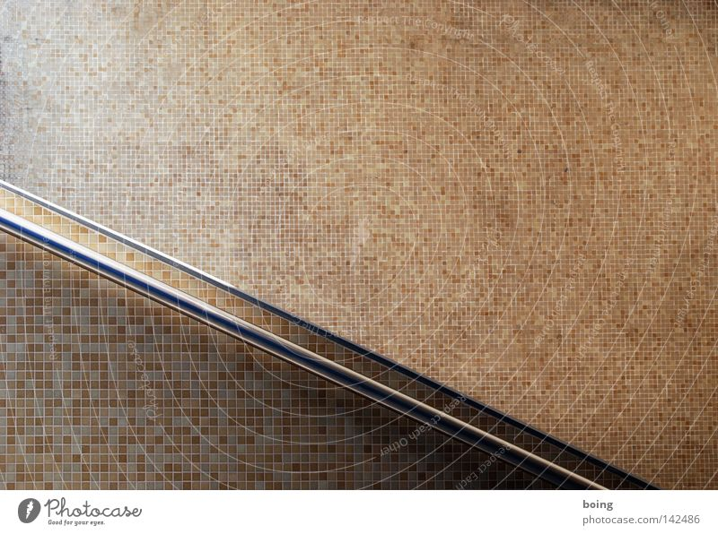 Wall (building) Background picture Stairs Tile Diagonal Handrail Banister Downward Seam Mosaic Underpass