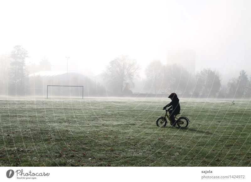 Human being Child Nature Landscape Environment Autumn Boy (child) Sports Playing Park Masculine Leisure and hobbies Fog Bicycle Infancy Esthetic