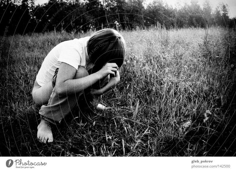 liqiud. Human being Woman Girl Black Grass Hair and hairstyles Legs Hair Clothing Film industry Trash Pants Steppe Black & white photo Printing Media