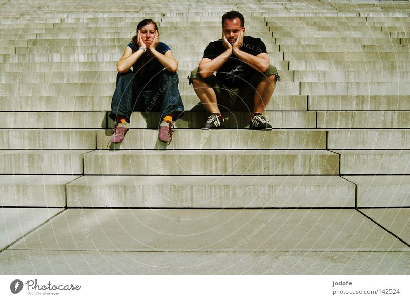 Human being Woman Man White Summer Face Relaxation Warmth Couple Feet Bright Sit Stairs Masculine Clothing Gloomy