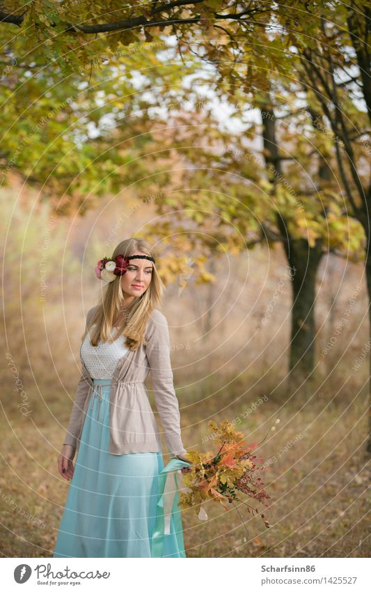 Bride boho style in the autumn oak alley. Human being Youth (Young adults) Beautiful Young woman 18 - 30 years Face Adults Yellow Love Natural Feminine