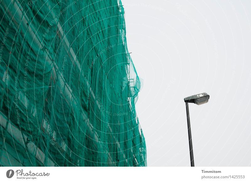 Want to dance? Sky High-rise Facade Packaging Street lighting Metal Plastic Simple Gray Green Black Emotions Affection Redecorate Net Construction site Lamp