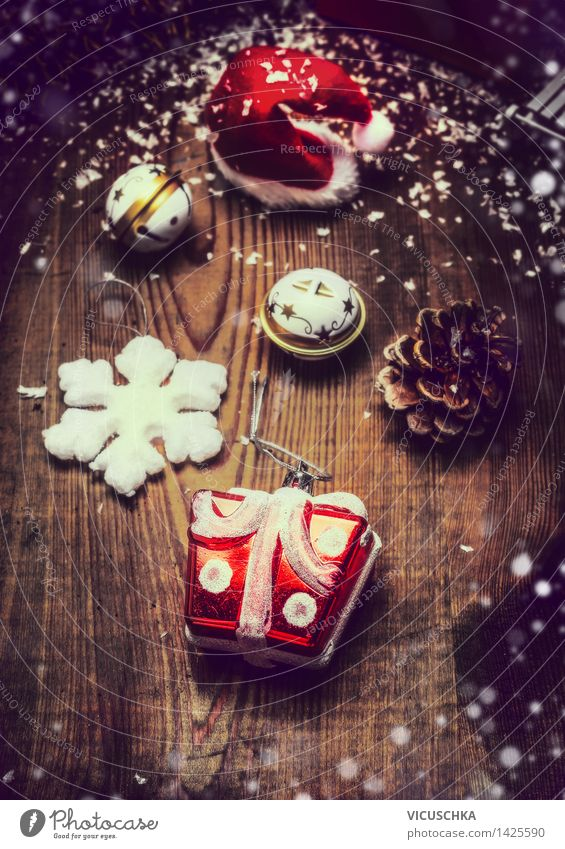 Christmas decoration on rustic wood Lifestyle Style Design Winter Living or residing Flat (apartment) Decoration Feasts & Celebrations Christmas & Advent Moody