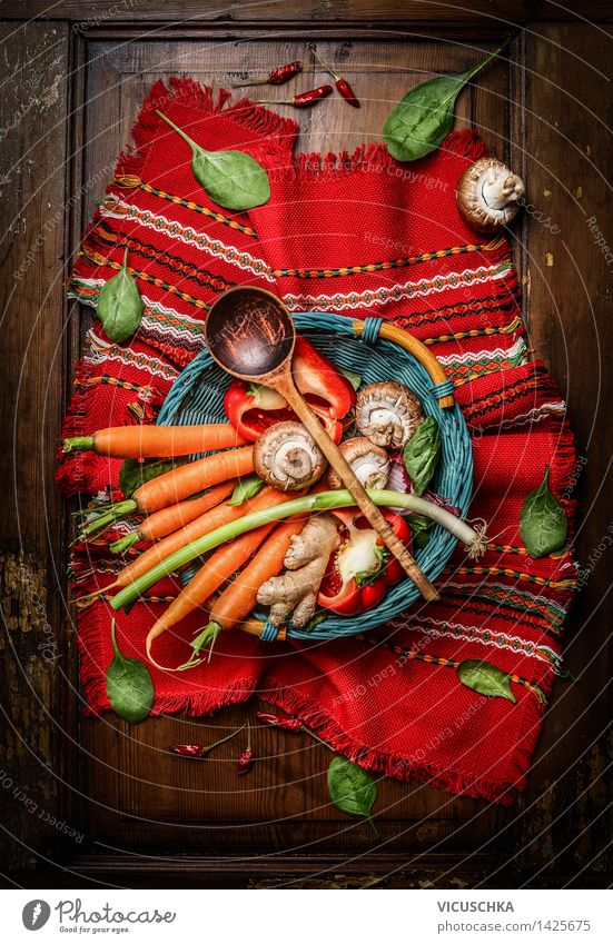 Healthy Eating Life Food photograph Style Design Nutrition Table Cooking & Baking Herbs and spices Kitchen Vegetable Organic produce Vintage Vegetarian diet
