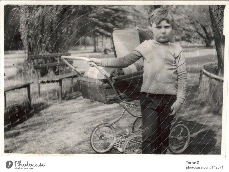 Human being Child Old White Black Boy (child) Park Infancy Round Retro Overweight Fat Former Baby carriage