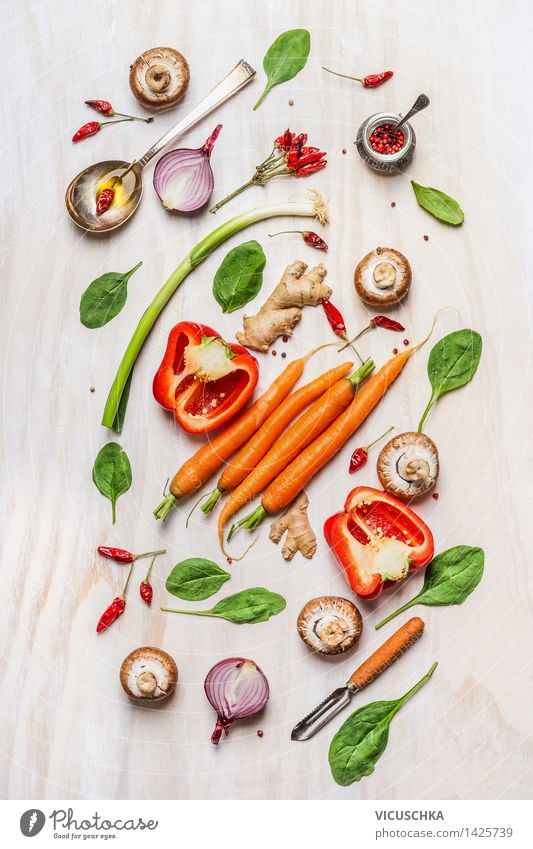 Healthy Eating Life Style Garden Food Design Nutrition Table Cooking & Baking Herbs and spices Kitchen Vegetable Flag Organic produce Top Dinner