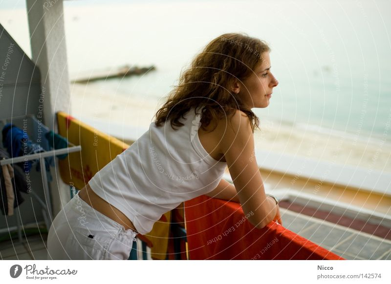 sea view Ocean Vacation & Travel Woman Balcony Hotel Greece Beach Hallstand Towel Dry White Dreamily Wanderlust vantage point Waves Top Beautiful