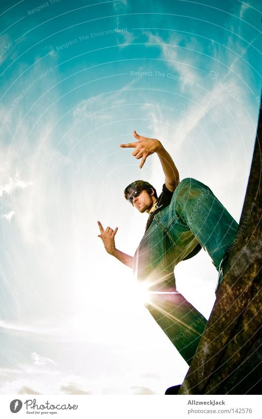 Man Sky Sun Joy Clouds Jeans Posture Rock music Back-light Gesture Potsdam Rock'n'Roll Make music Rocking out