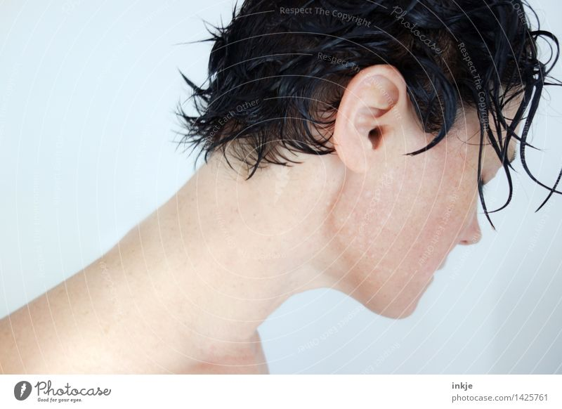 Woman with wet hair Lifestyle pretty Personal hygiene Body Hair and hairstyles Skin Spa Swimming & Bathing Adults Head Face Neck Woman`s neck 1 Human being