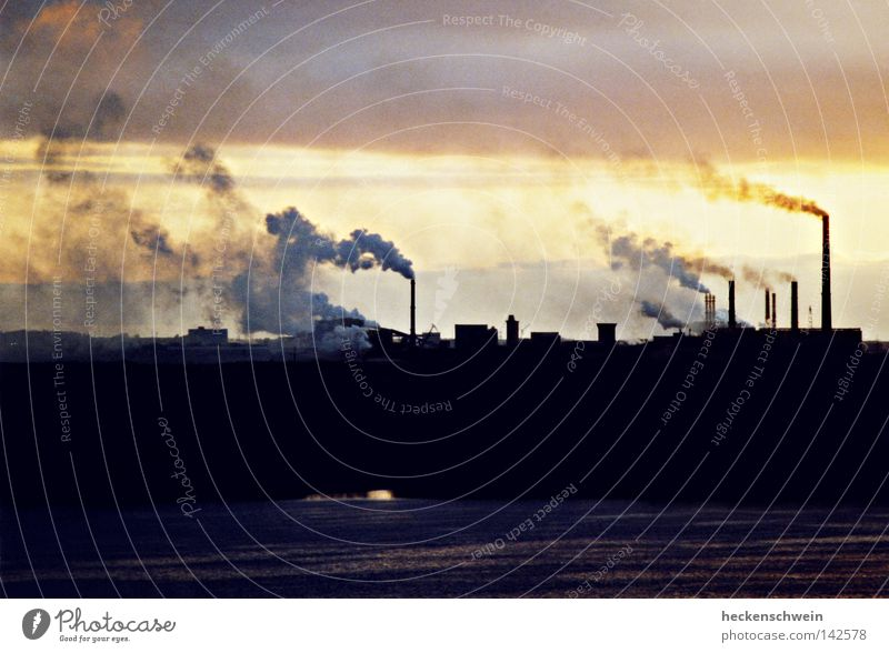 stinky fingers Factory Industry Environment Climate Climate change River bank Chimney Smoke Stress Environmental pollution Transience Future