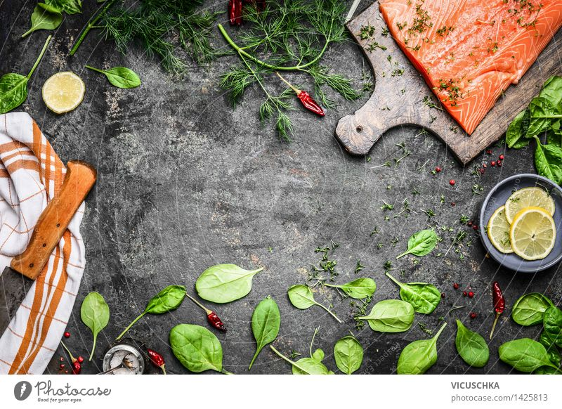 Salmon fish fillets and fresh ingredients for cooking Food Fish Vegetable Lettuce Salad Herbs and spices Nutrition Lunch Dinner Buffet Brunch Banquet Diet