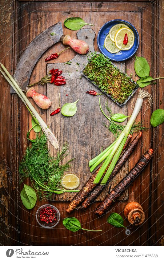 Delicious vegetables and spices for healthy cooking Food Vegetable Herbs and spices Nutrition Lunch Dinner Buffet Brunch Banquet Organic produce Vegetarian diet