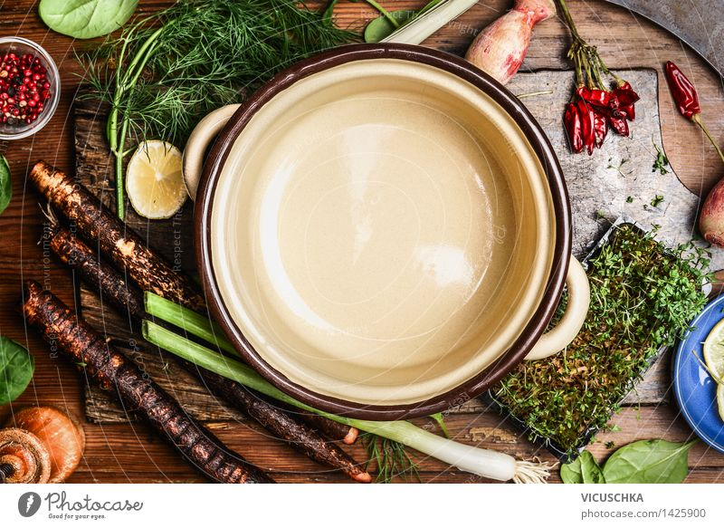 Healthy Eating Life Food photograph Style Design Fresh Nutrition Empty Table Cooking & Baking Herbs and spices Kitchen Vegetable Organic produce