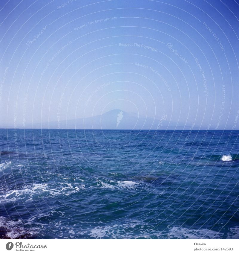 Etna Mount Etna Volcano Ocean Mediterranean sea Water Blue Horizon Waves Sicily Italy Far-off places Calm Vacation & Travel Lomography Medium format Mountain