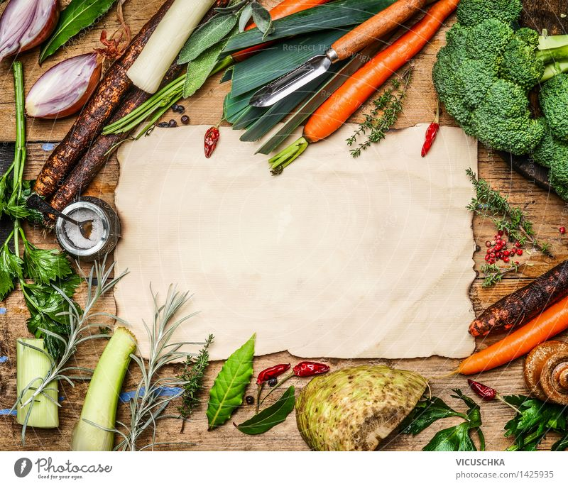 Vegetable ingredients for soup or broth Food Herbs and spices Nutrition Lunch Dinner Organic produce Vegetarian diet Diet Healthy Eating Life Table Kitchen