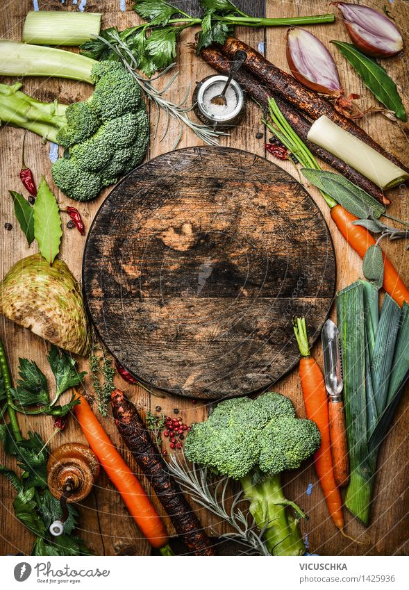 Farm vegetables and empty round chopping board Food Vegetable Herbs and spices Nutrition Lunch Dinner Organic produce Vegetarian diet Design Healthy Eating Life