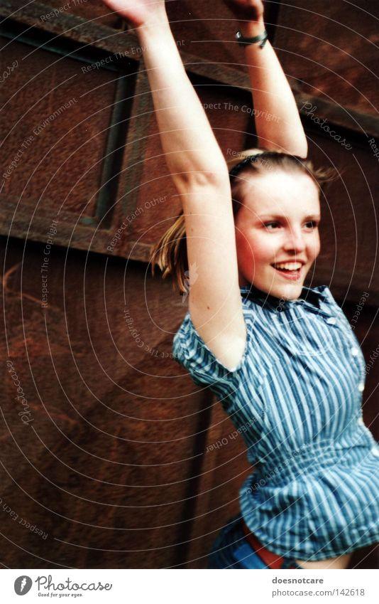 Woman Beautiful Joy Feminine Jump Laughter Blonde Adults Teeth Stripe Shirt Rust Smiling Freckles Hop
