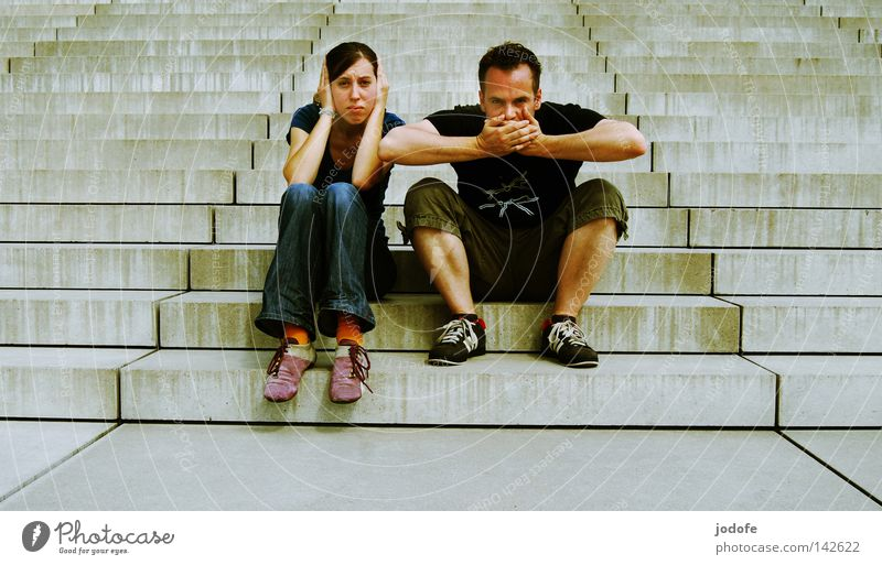 Human being Woman Man Summer Face Architecture Warmth Couple 2 Together Sit Masculine Stairs Exceptional Crazy Grief