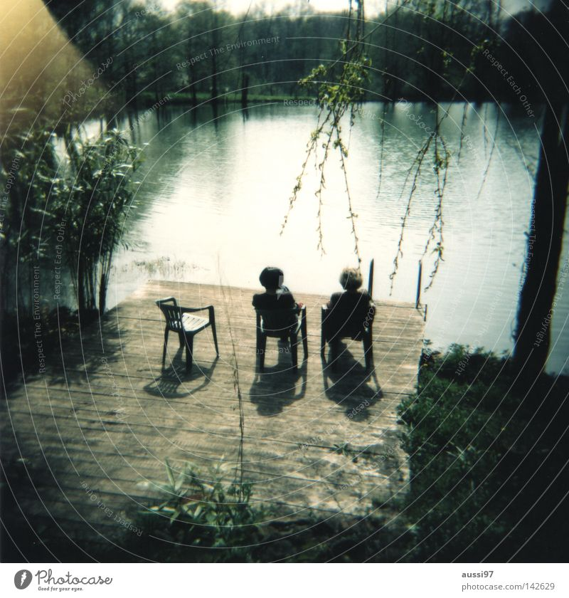 Woman Water Summer Vacation & Travel Relaxation To talk Lake Friendship Moody Holga Bathroom Trust Analog Human being Seating Film