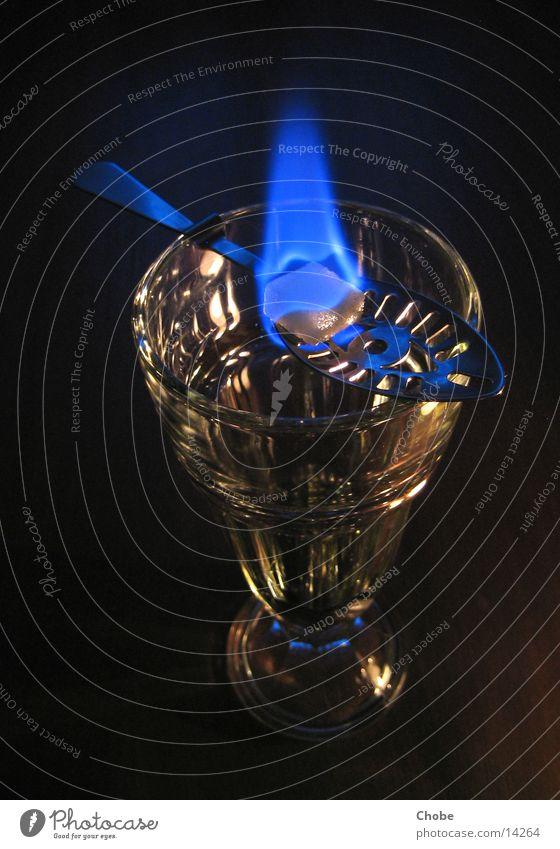 absinthe ritual Absinthe Green Spoon Sugar Lump sugar Ritual Alcoholic drinks Glass Blaze Flame Blue drinking ritual