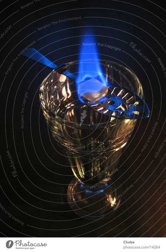 Green Blue Glass Blaze Alcoholic drinks Flame Sugar Spoon Ritual Cutlery Absinthe Lump sugar