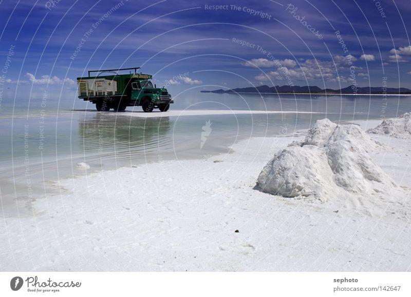 White Green Blue Calm Relaxation Mountain Lake Bright Industry Desert Infinity Truck Dazzle Salt Mining Rest