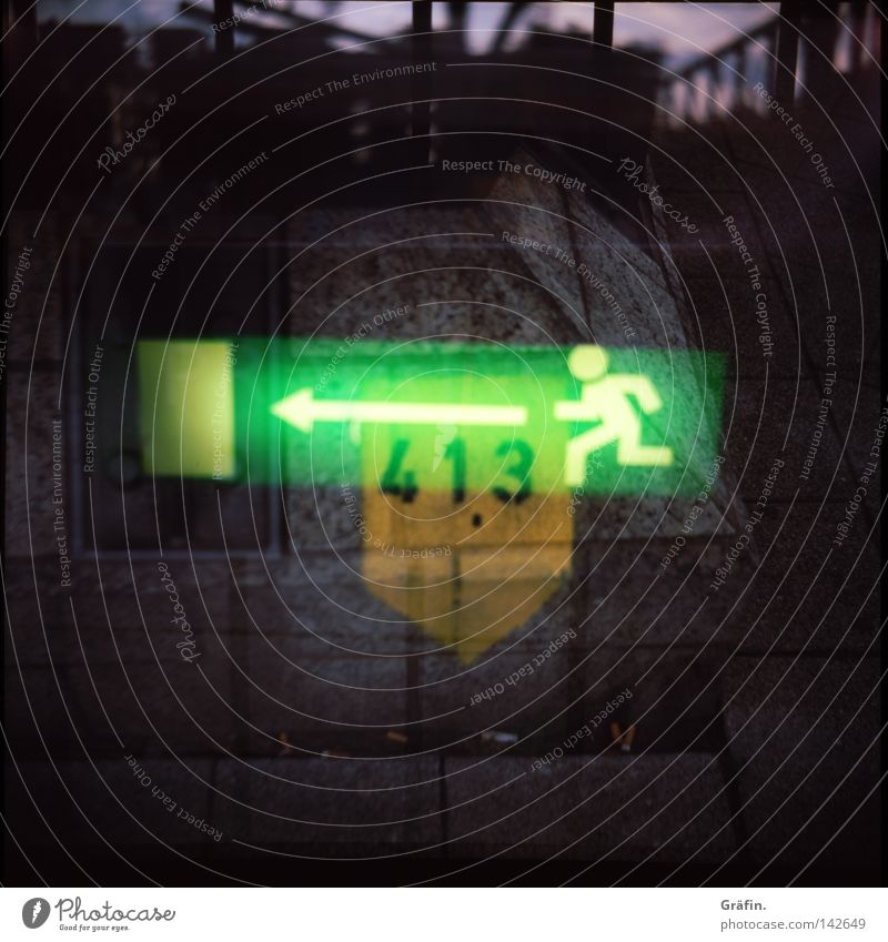 Green Yellow Dark Wall (barrier) Lanes & trails Lamp Lighting Concrete Signage Digits and numbers Harbour Double exposure Panic Bad weather Needy Pictogram