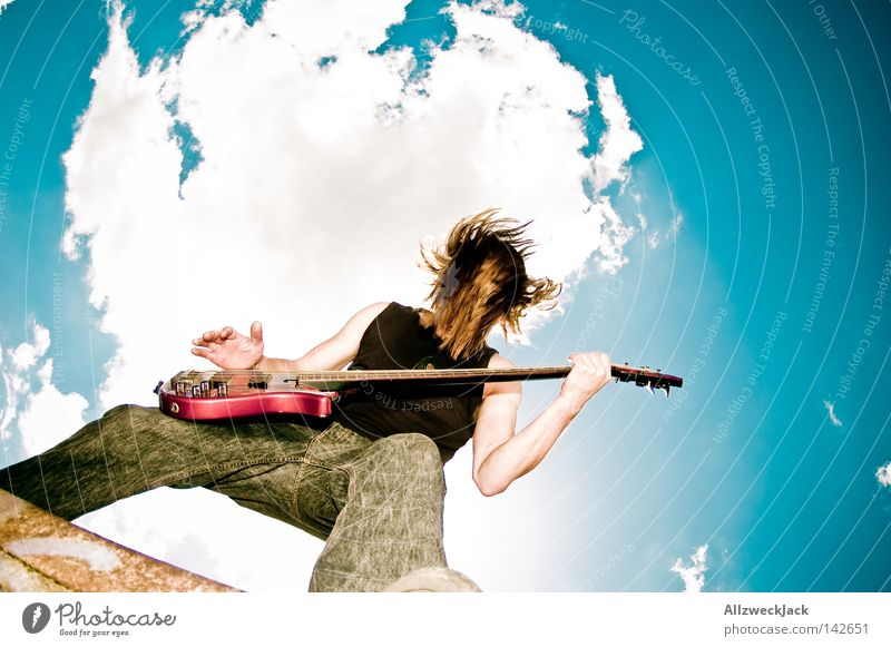 Man Sky Joy Clouds Music Power Musical instrument Action Wild Concert Rock music Passion Guitar Punk