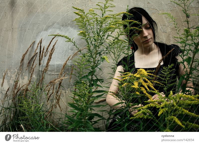 Woman Human being Nature Old Beautiful Plant Loneliness Feminine Life Dark Wall (building) Emotions Grass Blossom Style Think