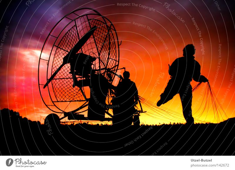 UFO Paragliding Jump Poland Sky Sunset Multicoloured Clouds Human being Joy Freedom Infinity Silhouette Red Calm Action Harmonious Progress School trip Sports