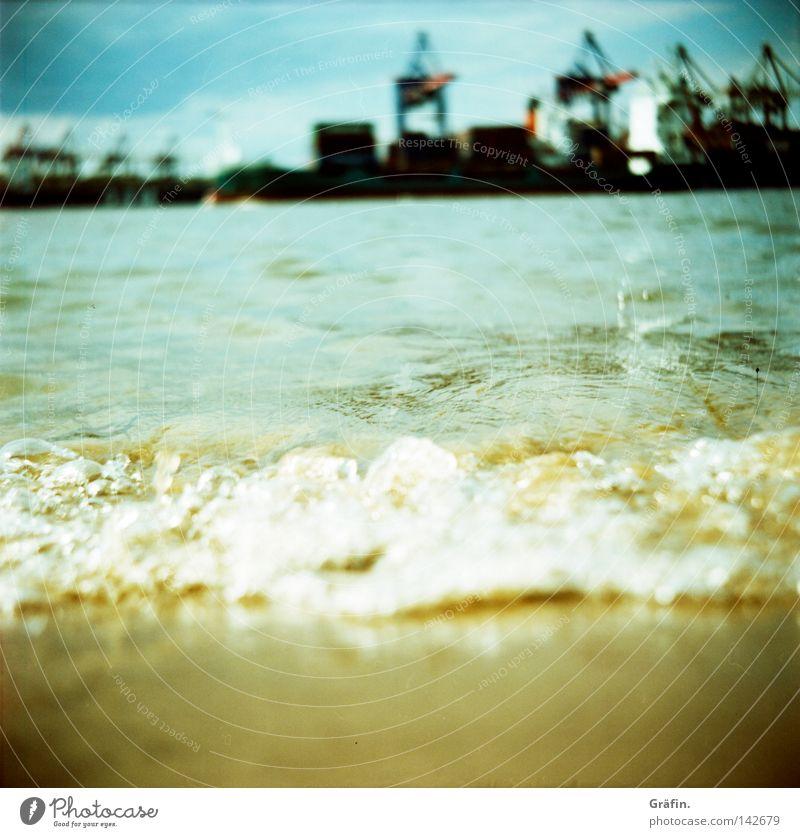 Sky Nature Water Beach Black Yellow Gray Movement Watercraft Brown Work and employment Waves Closed Wet Hamburg Industry