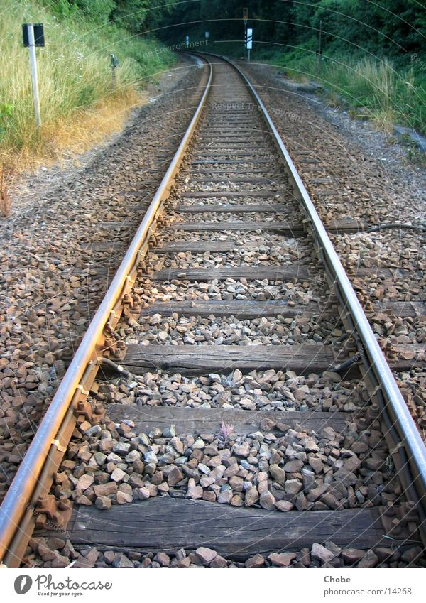 Rails 1 Railroad Railroad tracks Iron Wood Transport Perspective Stone in the morning