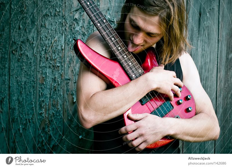 Man Joy Wood Music Contentment Power Wild Action Concert Rock music Skirt Passion Guitar Long-haired Tongue
