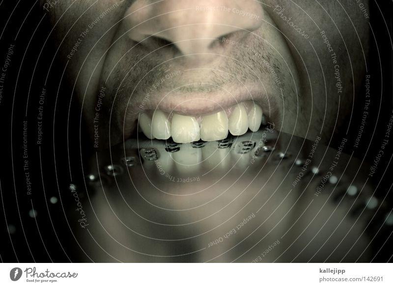 Human being Man Face Cold Metal Eating Glittering Skin Nose Crazy Wrinkle Teeth Wrinkles Hot Anger Steel