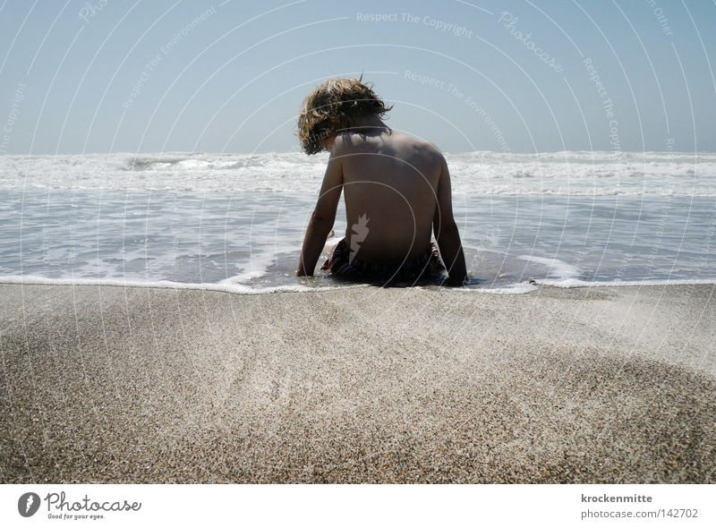 Child Water Ocean Summer Beach Vacation & Travel Calm Boy (child) Playing Hair and hairstyles Sand Coast Waves Wait Back