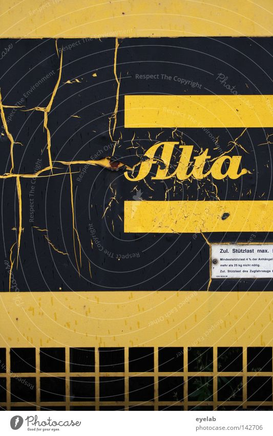 ALTA...WHAT'S UP !? Alta Typography Word Letters (alphabet) Information Yellow Black Construction machinery Compressor Stripe Grating Derelict Broken Desolate